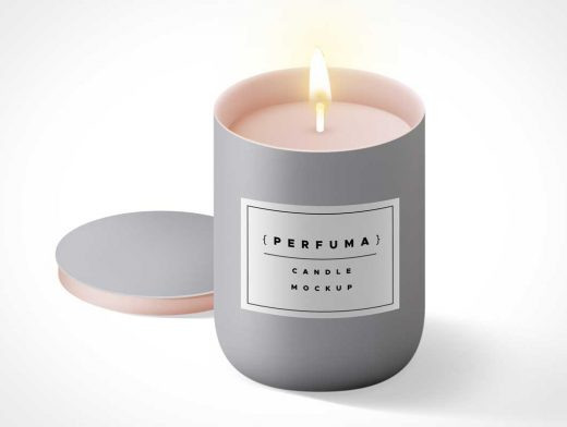 Scented Wax Candle & Lid Cover PSD Mockup