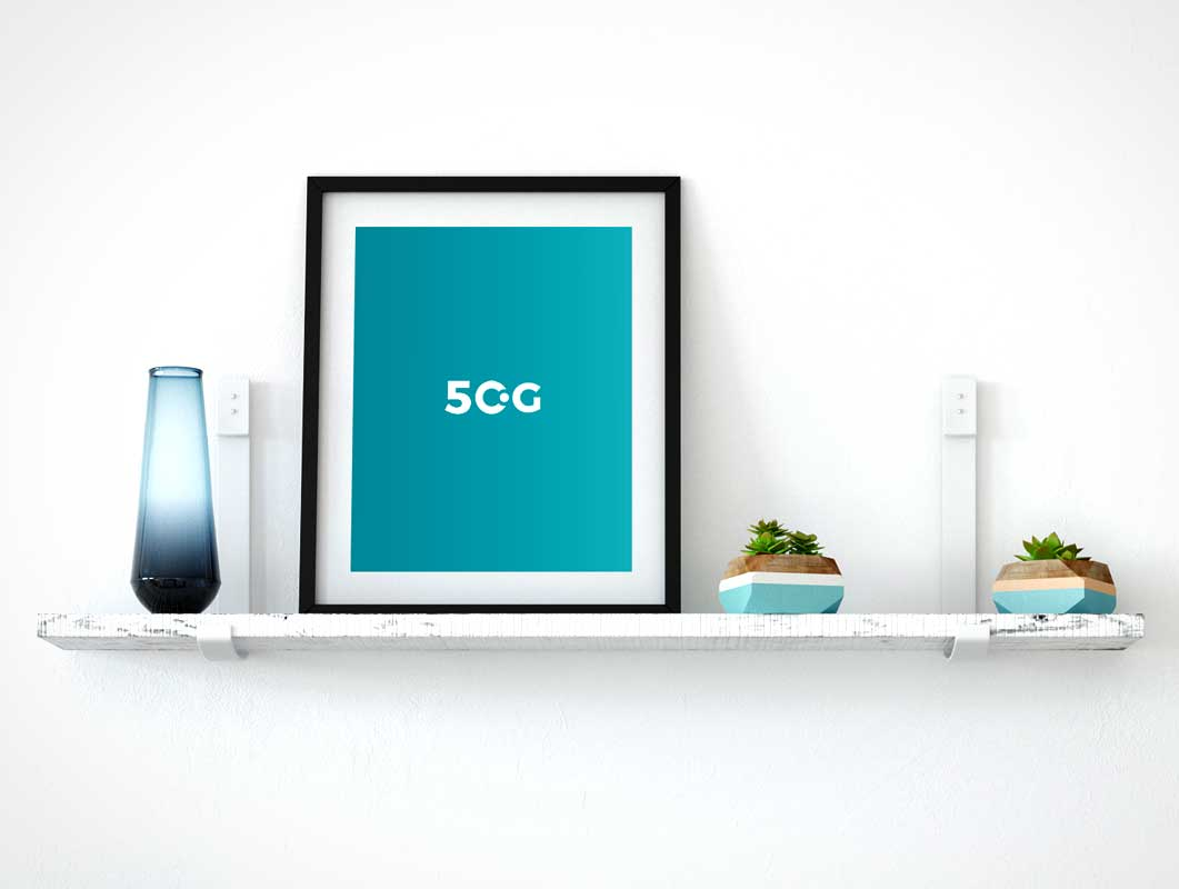 Shelf Mounted Portrait Poster & Frame PSD Mockup