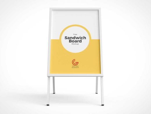 Sidewalk Sandwich Display Board PSD Mockup