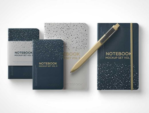 Softcover Notebook Front & Rounded Corners PSD Mockup