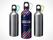 Sports Aluminium Water Bottle Flask PSD Mockup