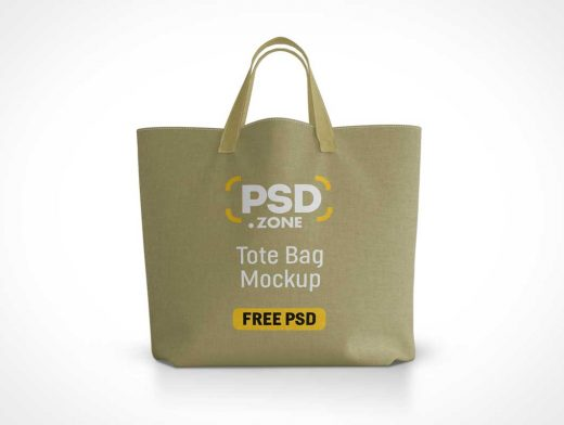 Stitched Canvas Tote Bag & Carry Handles PSD Mockup