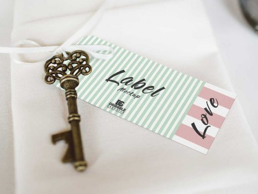Tag Label, Key & Ribbon PSD Mockup