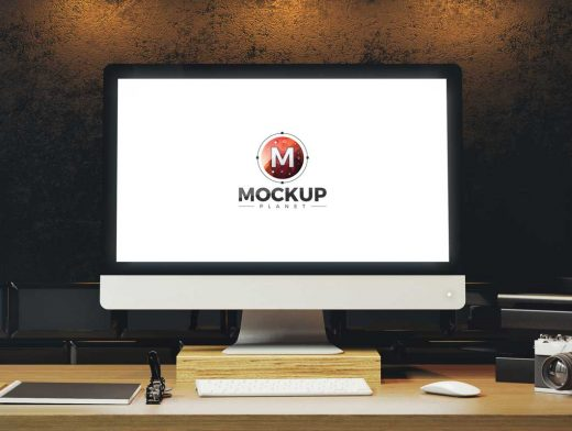 iMac Workstation Display, Keyboard & Mouse PSD Mockup
