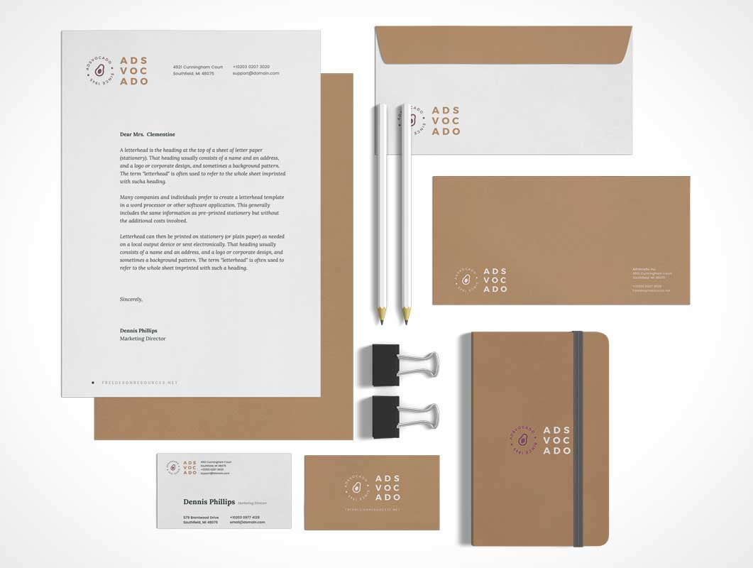 Binder Clips, Office Letterhead Stationery & Notepad PSD Mockup