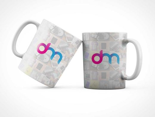 Ceramic Coffee Mug & Handle PSD Mockup