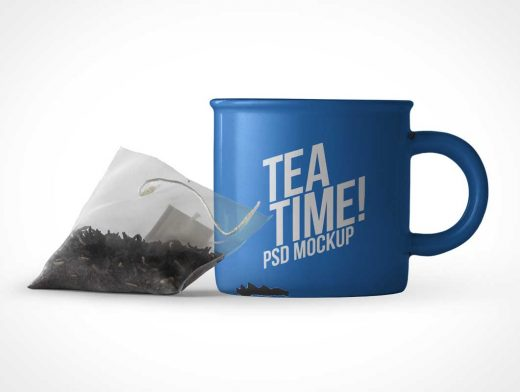 Ceramic Mug & Tea Bag PSD Mockup