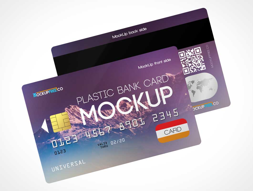 Credit Card Pair Front & Back PSD Mockups