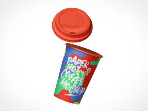 Falling Paper Coffee Cup & Plastic Sip Lid PSD Mockup