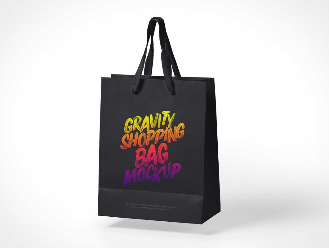 Floating Gravity Paper Bag & Nylon Handle PSD Mockup