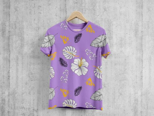 Hanging Round Neck T-Shirt PSD Mockup