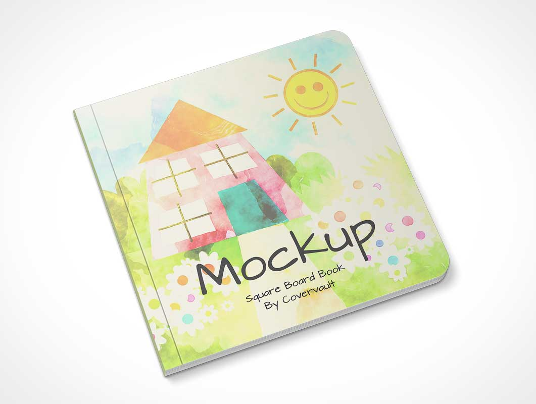 Hardcover Children's Book & Rounded Corners PSD Mockup