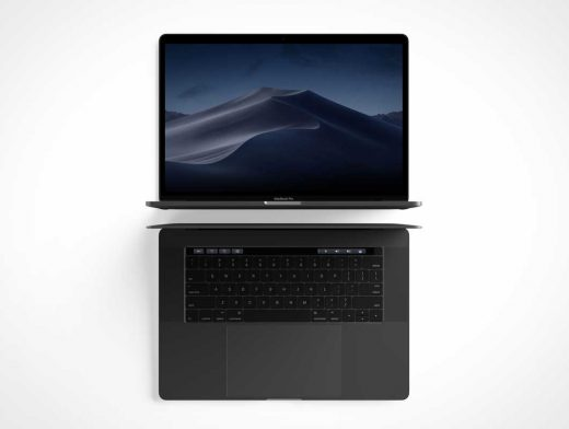 MacBook Pro Laptop Workstation Front & Top View PSD Mockup