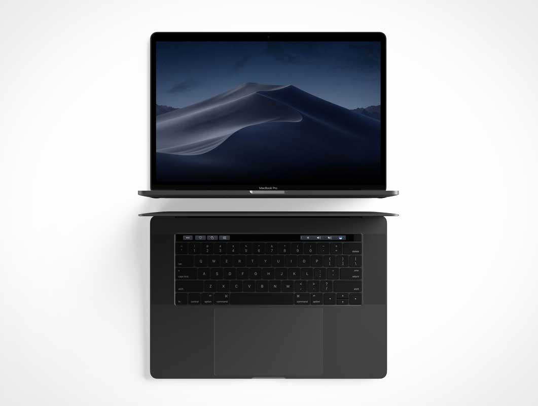 MacBook Pro Laptop Workstation Front & Top View PSD Mockup