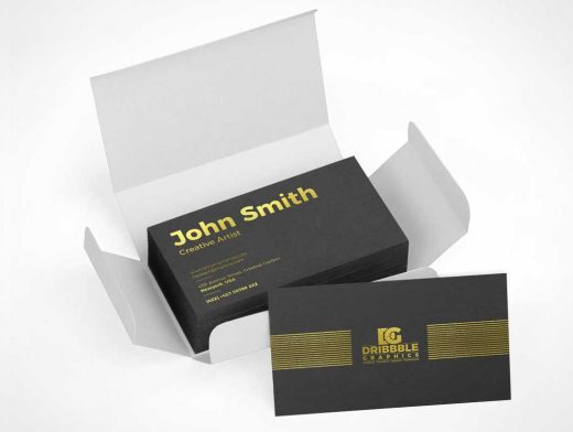 Packaged Box Business Card Stack Delivery PSD Mockup