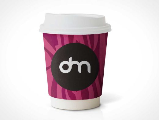 Small Paper Coffee Cup & Heat Guard PSD Mockup