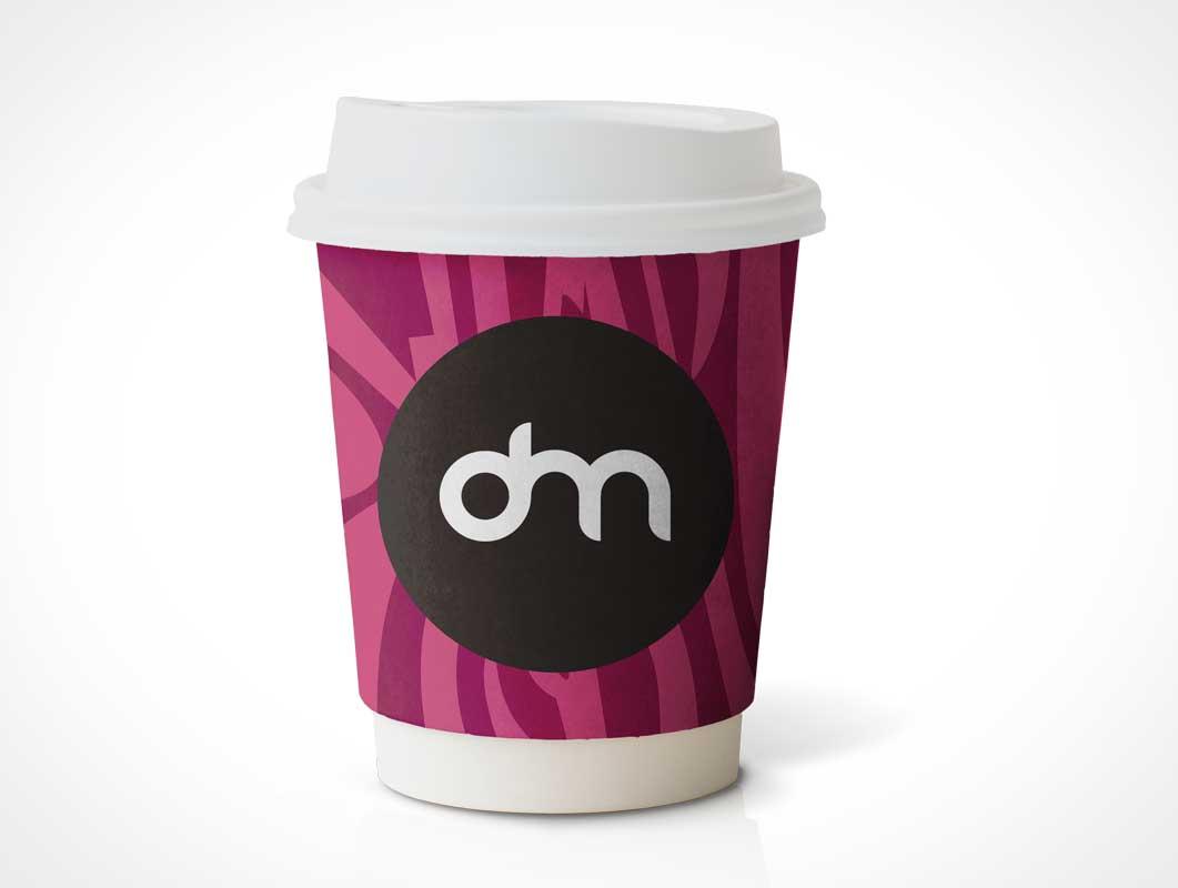 Small Paper Coffee Cup & Heat Guard PSD Mockup