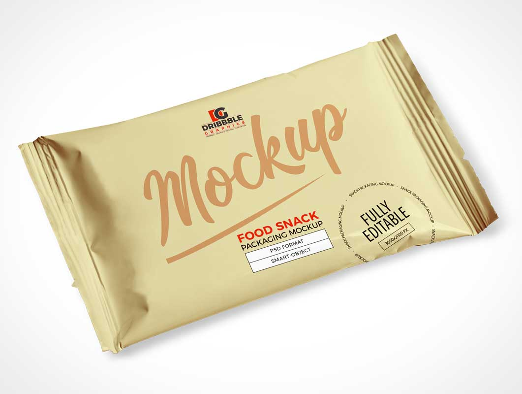 Snack Foil Pouch Packaging PSD Mockup