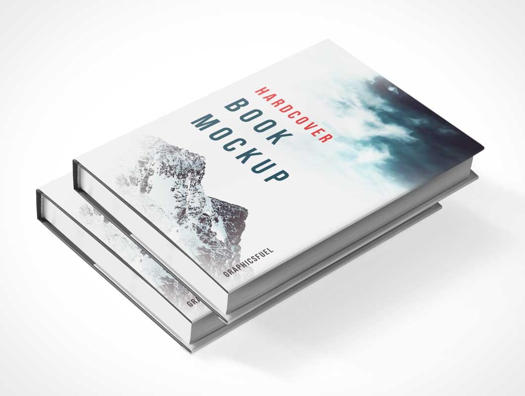 Stacked Hardcover Book Pair PSD Mockup