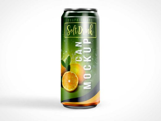 Stretched Soda Energy Drink Can PSD Mockup