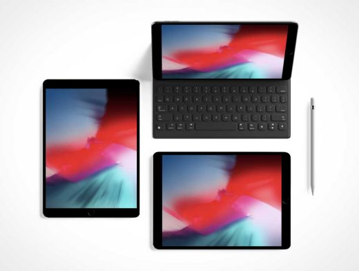 Top View iPad Pro & Keyboard PSD Mockup