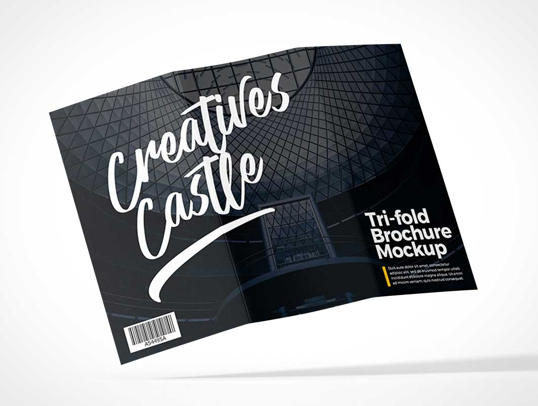 Tri-Fold Flyer Front, Middle & Back Panels PSD Mockup