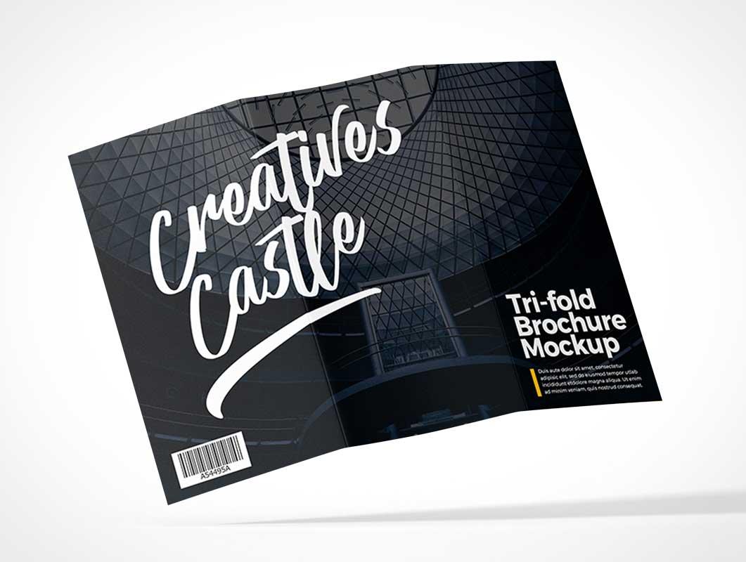 Tri-Fold Flyer Front, Middle & Back Panels PSD Mockup