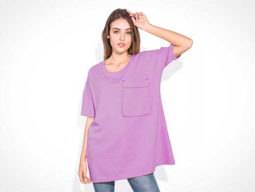 Woman Wearing Oversized Sleeveless T-Shirt PSD Mockup