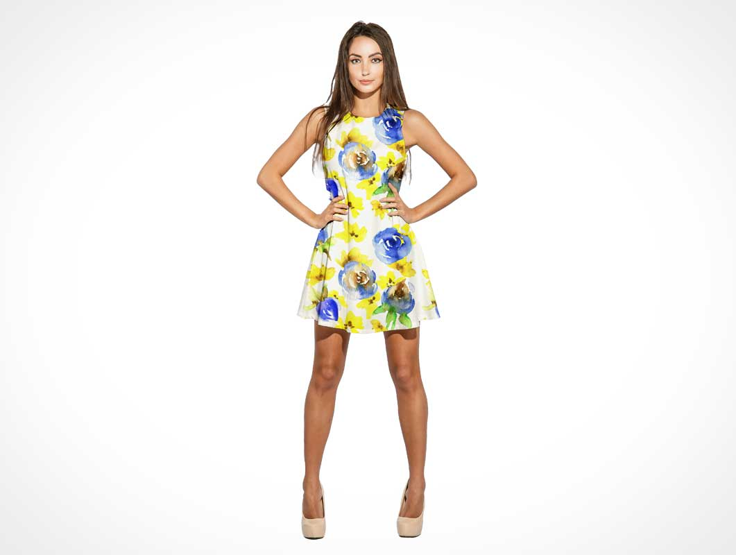 Woman Wearing Summer Mini Dress PSD Mockup