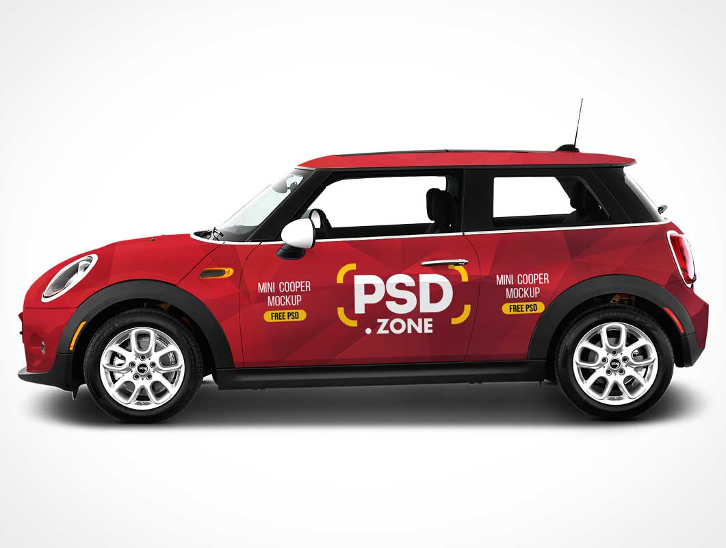 2 Door Mini Cooper Car Branding PSD Mockup