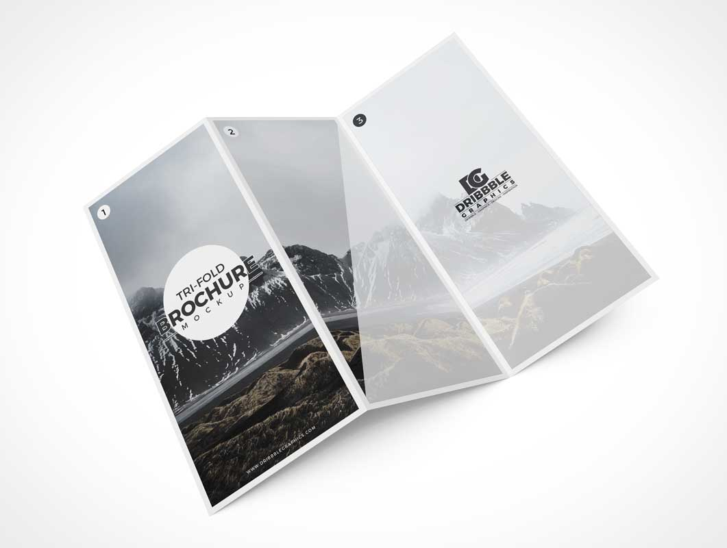 3 Panel Brochure Cover & Inside Panels PSD Mockup