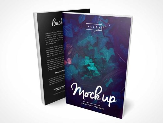 5.5 x 8.5 Standing Softcover Paperback C-Format Books PSD Mockup