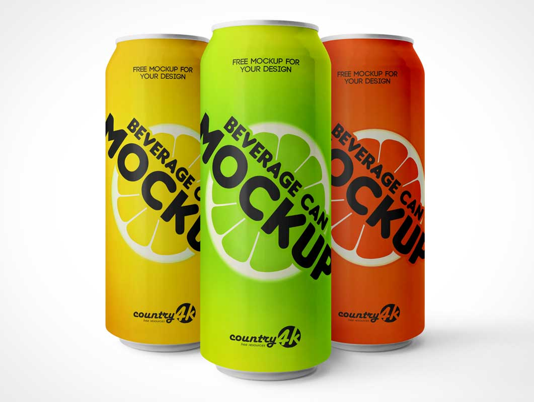 Aluminum Soda Can Sugar Drink Beverage PSD Mockup
