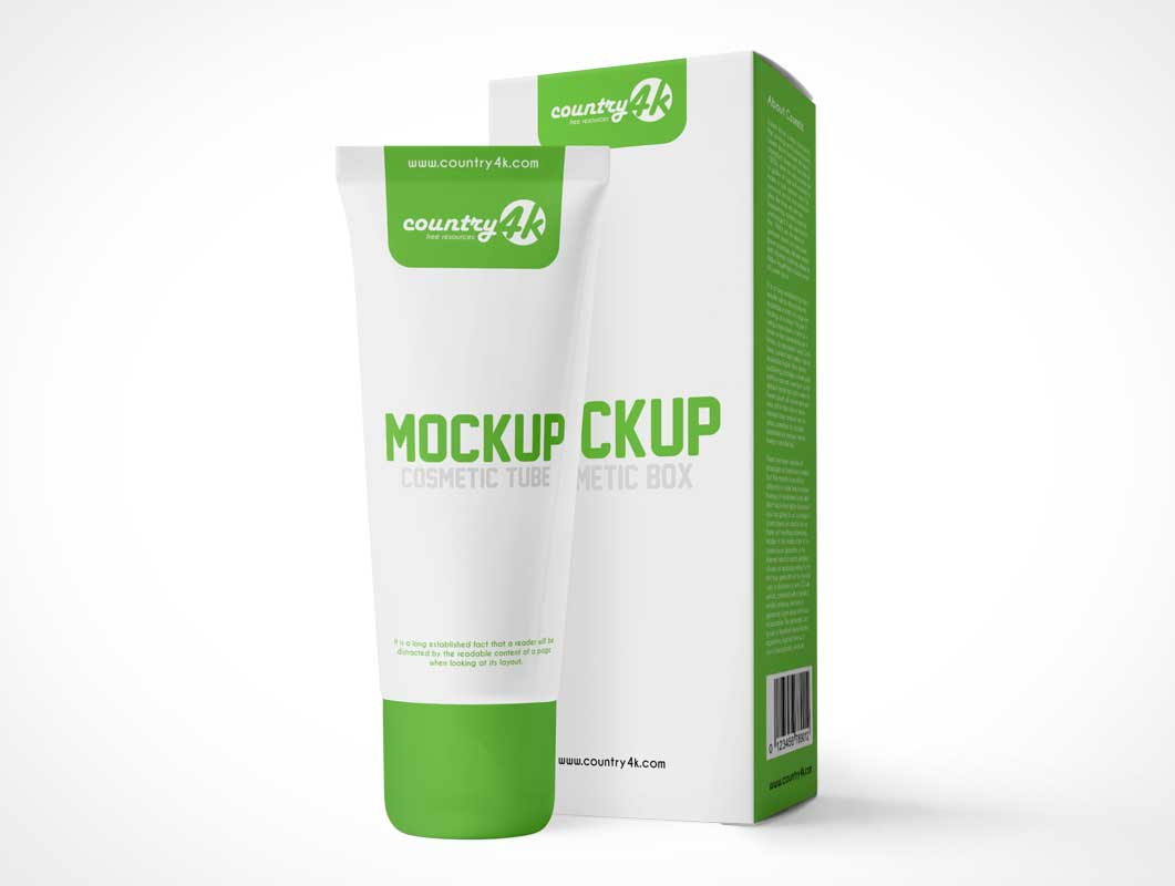 Cosmetic Makeup Cream Tube & Packaging Box PSD Mockup