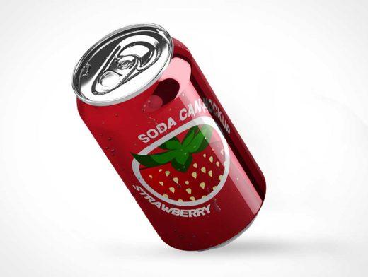 Falling Soda Can & Pull Tab PSD Mockup