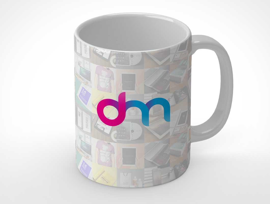 Glazed Ceramic Finish Coffee Mug PSD Mockup