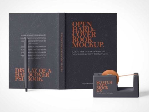 Hardcover Book Exterior, Pen Stylus & Tape Dispenser PSD Mockup