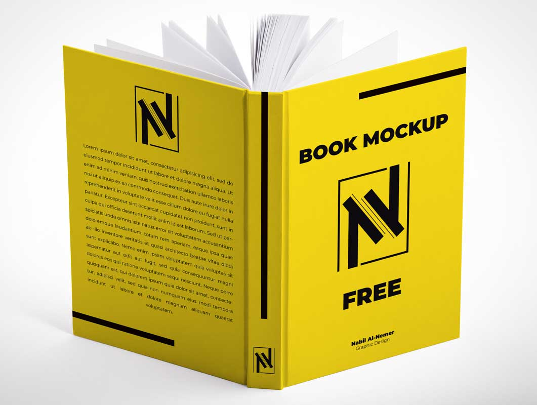 Hardcover Book, Spine & Open Pages PSD Mockup