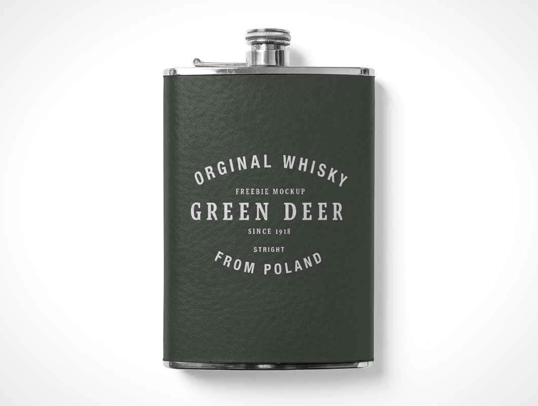 Metal Hip Flask Bottle PSD Mockup