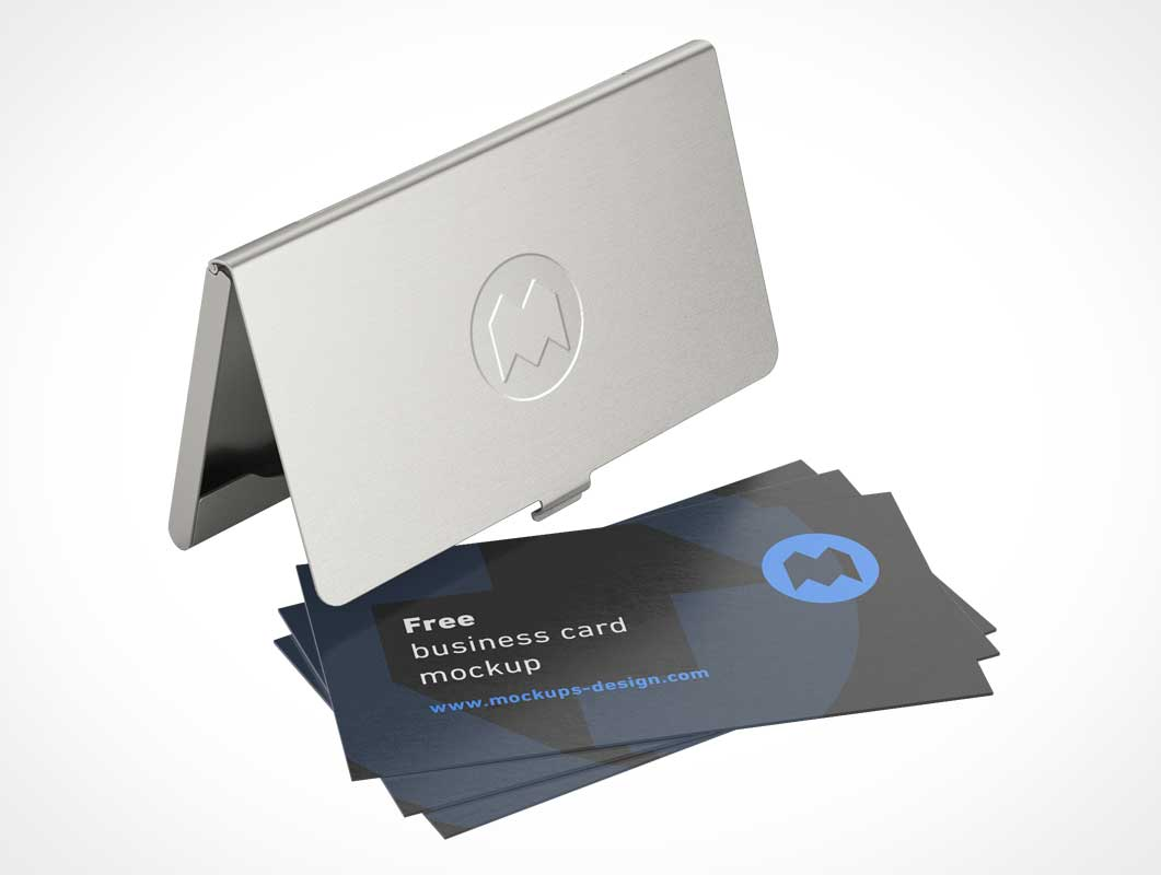 Metallic Business Card Holder Case & Snap Lid PSD Mockup