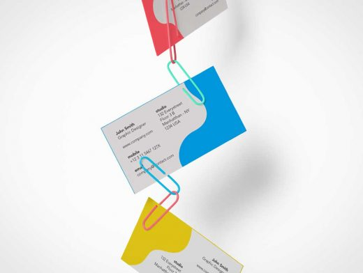 Paper Clipped Business Cards PSD Mockup