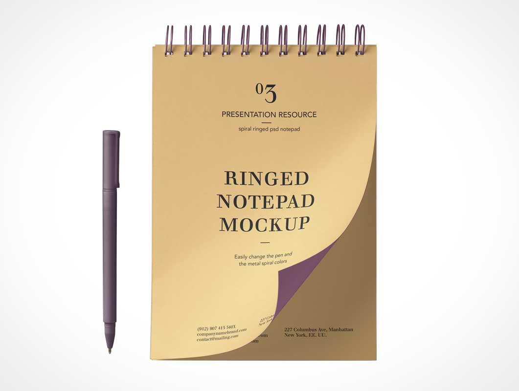 Ringed Notepad & Ballpoint Pen PSD Mockup