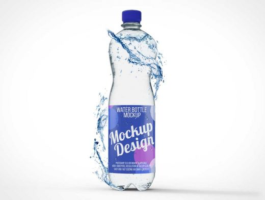 Sealed Plastic Water Bottle Splash PSD Mockup