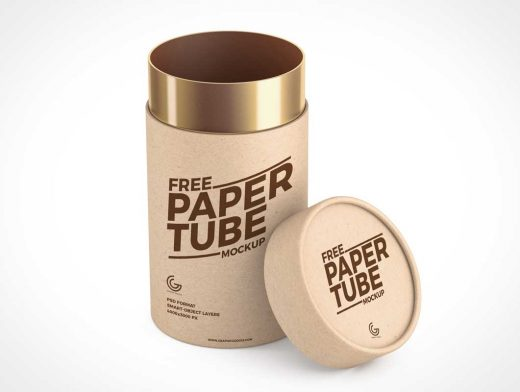 Shipping Mailer Tube & Cap PSD Mockup