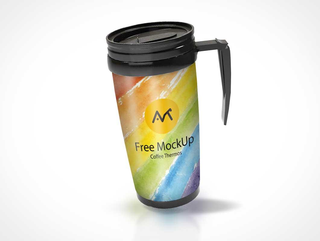 Steel Mug Thermos & Plastic Sip Lid PSD Mockup