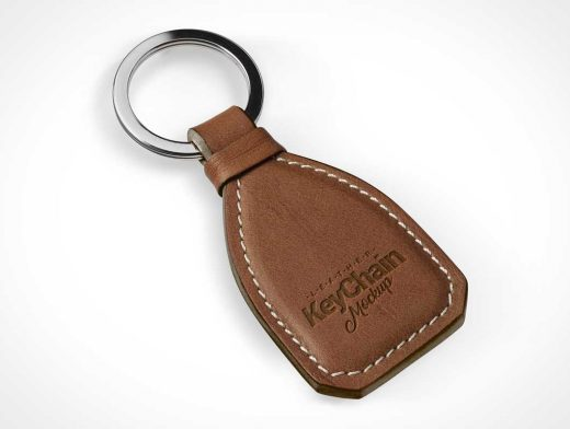 Stitched Leather Keychain & Metal Ring PSD Mockup