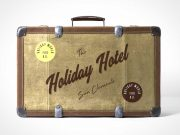 Vintage Luggage Travel Suitcase Side View PSD Mockup