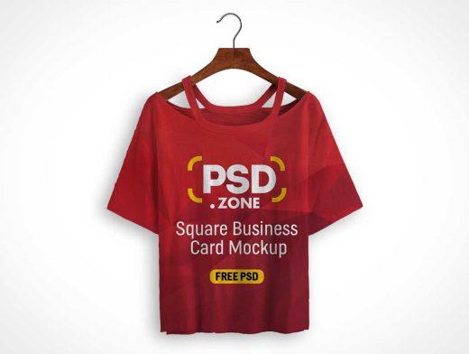 Woman's Cotton Crop Top T-Shirt PSD Mockup