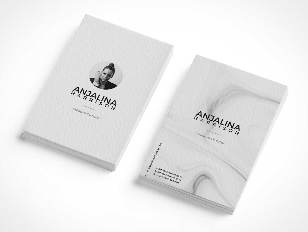Branded Portrait Design Business Card Piles PSD Mockup
