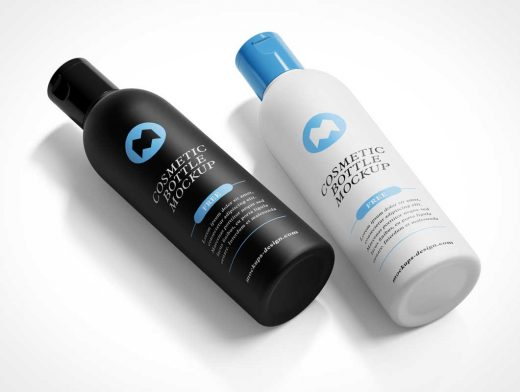 Cosmetic Shampoo Lotion Bottle & Snapcap PSD Mockup